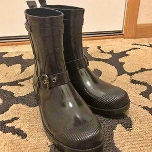 Coach black rain boots.